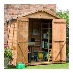 4 x 6 Wooden Tongue and Groove Windowless Apex Garden Shed with Double Doors (10mm Solid OSB Floor) - 48HR + SAT Delivery*