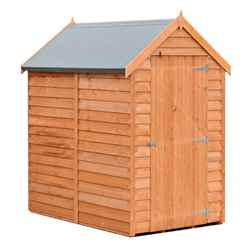 INSTALLED 6 x 4  (1.83m x 1.20m) - Super Value Overlap - Apex Wooden Garden Shed - Windowless - Single Door - 10mm Solid OSB Floor