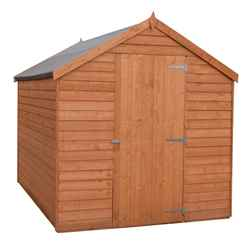 INSTALLED 7 x 5 (2.05m x 1.62m) - Super Value Overlap - Apex Wooden Shed - Windowless - Single Door - 10mm Solid OSB Floor