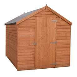 INSTALLED - 8 x 6 (2.39m x 1.83m) - Super Value Overlap - Apex Wooden Shed - Windowless - Single Door - 12mm Solid OSB Floor