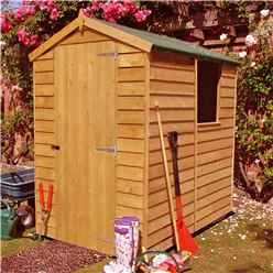 INSTALLED - 6 x 4 (1.83m x 1.20m) - Dip Treated Overlap -  Apex Garden Shed - 1 Window -  Single Door - 10mm Solid OSB Floor
