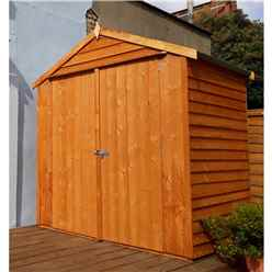 INSTALLED - 4 x 6 (1.19m x 1.82m) - Dip Treated Overlap - Apex Garden Shed - Windowless - Double Doors - 10mm Solid OSB Floor