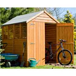 INSTALLED - 7 x 5 (2.04m x 1.61m) - Dip Treated Overlap - Apex Garden Shed - 4 Windows - Double Doors - 9mm Solid OSB Floor