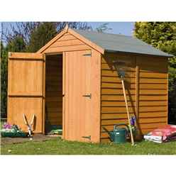 INSTALLED - 6 x 6 (1.76m x 1.82m) - Dip Treated Overlap - Apex Garden Shed - Windowless - Double Doors - 10mm Solid OSB Floor