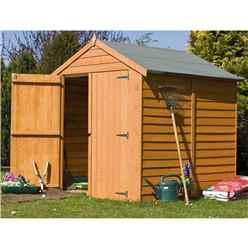 INSTALLED - 6 x 6 (1.76m x 1.82m) - Dip Treated Overlap - Apex Garden Shed - Windowless - Double Doors - 10mm Solid OSB Floor