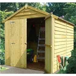 INSTALLED 8 x 6  (2.38m x 1.79m) - Pressure Treated Overlap - Apex Garden Shed - Windowless - Double Doors - 11mm Solid OSB Floor