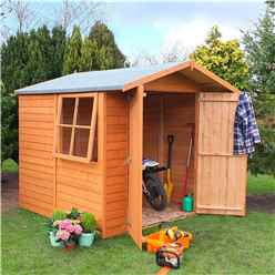 INSTALLED 7 x 7 (1.98m x 2.04m) Overlap - Apex Wooden Garden Shed - 1 Opening Window - Double Doors - 11mm Solid OSB Floor INSTALLATION INCLUDED