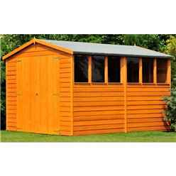 INSTALLED - 10 x 6 (2.99m x 1.79m) - Dip Treated Overlap - Apex Garden Shed - 6 Windows - Double Doors - 11mm Solid OSB Floor