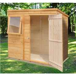 INSTALLED - 6 x 4 (1.16m x 1.77m) - Tongue & Groove - Pent Garden Shed - 1 Opening Window - Single Door - 12mm Solid OSB Floor