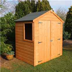 INSTALLED -  4 x 6 (1.20m x 1.83m) - Tongue & Groove - Apex Garden Shed - 1 Opening Window - Double Doors - 10mm Solid OSB Floor