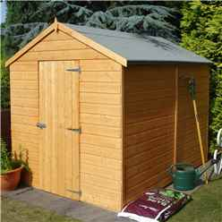 INSTALLED - 8 x 6 (2.38m x 1.79m) - Tongue & Groove - Apex Garden Shed - 1 Window - Single Door - 11mm OSB Floo