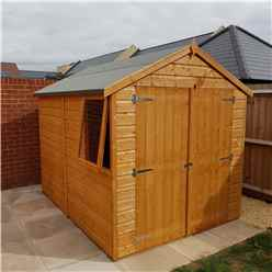 INSTALLED - 8 x 6 (2.38m x 1.79m) - Tongue & Groove Apex Garden Shed - 1 Window - Double Doors - 11mm OSB Floor