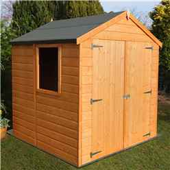 INSTALLED 6 x 6 Tongue And Groove Apex Wooden Garden Shed / Workshop With Double Doors (12mm Tongue And Groove Floor)