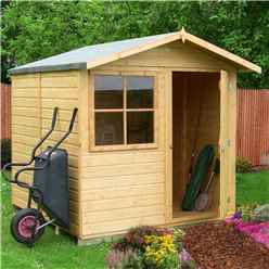 INSTALLED - 7 x 7 (2.05m x 1.98m) - Tongue & Groove Apex Garden Shed - 1 Window - Single Door - 12mm Tongue and Groove Floor INSTALLATION INCLUDED