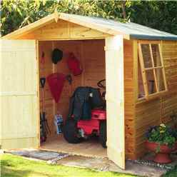 INSTALLED - 7 x 7 (2.05m x 2.05m) - Tongue & Groove - Apex Garden Shed / Workshop 1 Opening Window - Double Doors - 12mm Tongue and Groove Floor INSTALLATION INCLUDED