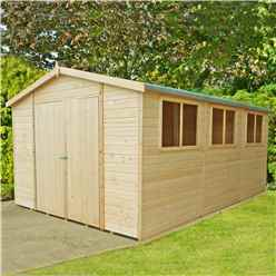 INSTALLED - 15 x 10 (4.48m x 2.99m) - Tongue & Groove - Garden Shed /Workshop - 12mm Tongue and Groove Floor & Roof