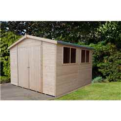 INSTALLED - 10 x 10 (2.99m x 2.99m)) - Tongue & Groove Garden Shed /Workshop 6 Windows - Double Doors - 12mm Tongue and Groove Floor