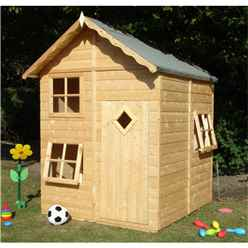 "INSTALLED 5'2"" x 5'5"" (1.60m x 1.68m)  -  Wooden Playhouse"