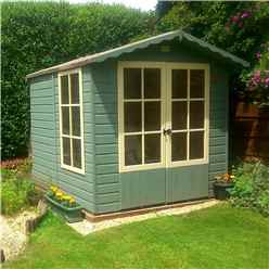 INSTALLED 7 x 7 (2.05m x 1.98m) - Premier Wooden Summerhouse - Double Doors - 1 Opening Window - 12mm T&G Walls - Floor - Roof INSTALLATION INCLUDED