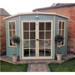 INSTALLED 8 x 8 (2.24m x 2.24m) - Premier Wooden Corner Summerhouse - Double Doors - 12mm T&G Walls & Floor