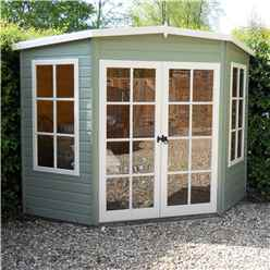 INSTALLED - 7 x 7 (1.98m x 2.05m) - Corner Summerhouse - 12mm T&G Floor