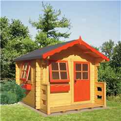 INSTALLED - 6 x 7 (1.69m x 1.79m) - Salcey Playhouse - 28mm Logs to Walls INSTALLATION INCLUDED