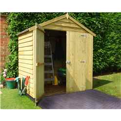INSTALLED 4 x 6 (1.19m x 1.79m) - Overlap Pressure Treated - Apex Garden Shed - Windowless - Double Doors - 10mm Solid OSB Floor