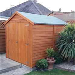 INSTALLED 8 x 6 (2.39m x 1.82m) - Dip Treated Overlap -  Apex Garden Shed - Windowless - Double Doors - 10mm Solid OSB Floor