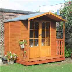 INSTALLED 7 x 7 (2.05m x 1.98m) - Premier Wooden Summerhouse + Veranda - Double Doors - 12mm T&G Walls & Floor
