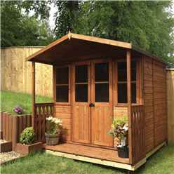 INSTALLED 7 x 7 (2.05m x 1.55m) -  Premier Wooden Summerhouse - Double Doors - Side Windows - 12mm T&G Walls & Floor