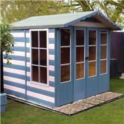 INSTALLED 7 x 7 (2.05m x 1.98m) - Premier Wooden Summerhouse - Double Doors - Side Windows - 12mm T&G Walls & Floor INSTALLATION INCLUDED