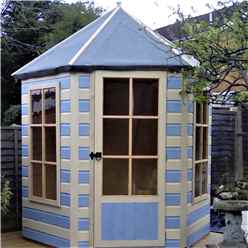 INSTALLED 6 x 7 (1.87m x 2.16m) - Premier Wooden Hexagonal Summerhouse - Single Door - 12mm T&G Walls & Floor