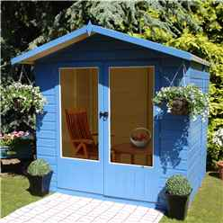 INSTALLED 7 x 5 (2.05m x 1.55m)  - Premier Wooden Summerhouse - Double Doors - 12mm T&G Walls & Floor