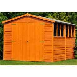 10 x 10 (2.99m x 2.99m) - Dip Treated Overlap - Apex Wooden Garden Shed - 6 Windows - Double Doors - 9mm Solid OSB Floor