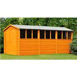 15 x 10 (4.52m x 2.99m) - Dip Treated Overlap - Apex Wooden Garden Shed - 9 Windows - Double Doors - 10mm Solid OSB Floor