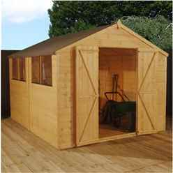 10 x 8 Select Tongue And Groove Apex Shed With 2 Windows And Double Door (12mm Tongue and Groove Floor) (10mm Solid OSB Roof) - 48hr + Sat Delivery*