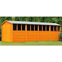 20 x 10 (6.05m x 2.99m) - Dip Treated Overlap - Apex Wooden Garden Shed - 12 Windows - Double Doors - 10mm Solid OSB Floor