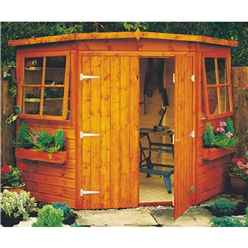 10 x 10 (2.99m x 2.99m) - Tongue And Groove - Corner Wooden Garden Shed / Workshop - 2 Opening Windows - Double Doors - 12mm Tongue And Groove Floor (CORE)