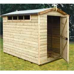 8 x 6 (2.39m x 1.79m) - Tongue And Groove Security - Apex Garden Wooden Shed / Workshop - High Level Windows - Single Door - 12mm Tongue And Groove Floor And Roof (CORE)