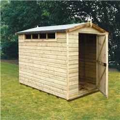 INSTALLED - 8 x 6 (2.39m x 1.79m) - Tongue And Groove Security - Apex Garden Wooden Shed - High Level Windows - Single Door - 12mm Tongue And Groove Floor And Roof -  INSTALLATION INCLUDED