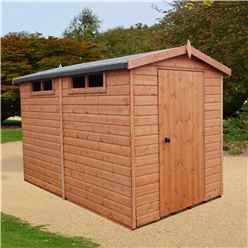 10 x 8 (2.99m x 2.39m) - Tongue And Groove Security - Apex Garden Wooden Shed / Workshop - High Level Windows - Single Door - 12mm Tongue And Groove Floor And Roof