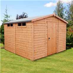 10 x 10 (2.99m x 2.99m) - Tongue And Groove Security - Apex Garden Wooden Shed - High Level Windows - Single Door - 12mm Tongue And Groove Floor And Roof