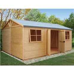 12 x 18 (3.73m x 5.39m) - Tongue & Groove - Apex Workshop - 2 Opening Window - Double Doors - 16mm Tongue & Groove Floor