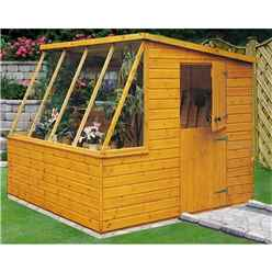INSTALLED 8 x 6 (2.39m x 1.79m) - Tongue And Groove - Potting Shed With Opening Side Window - INCLUDES INSTALLATION