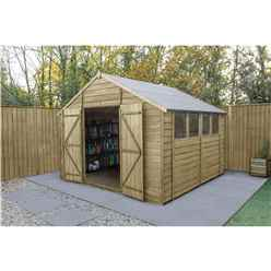Overlap Pressure Treated 10ft x 10ft Apex Shed - Double Door With 4 Windows (3.04m x 3.06m)