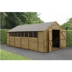 INSTALLED Overlap Pressure Treated 15ft x 10ft Apex Shed - Double Door With 6 Windows (3.05m x 4.55m)