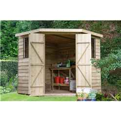 INSTALLED 7ft x 7ft Pressure Treated Overlap Corner Shed (2.9m x 2.3m) - INCLUDES INSTALLATION
