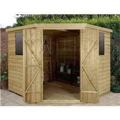 INSTALLED 8ft x 8ft Pressure Treated Overlap Corner Shed (3.4m x 2.8m)