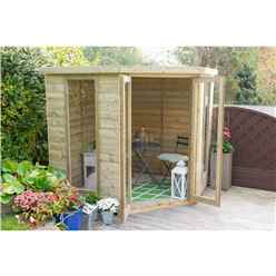 INSTALLED 7 x 7 Tongue and Groove Corner Summerhouse (2.96m x 2.30m) - INCLUDES INSTALLATION