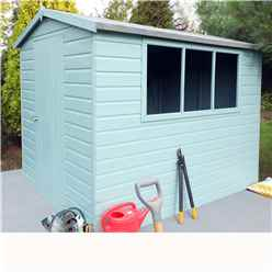 INSTALLED 8 x 6 (2.39m x 1.79m) - Tongue And Groove - Apex Workshop - 2 Windows - Single Door - 12mm Tongue And Groove Floor and Roof - INCLUDES INSTALLATION